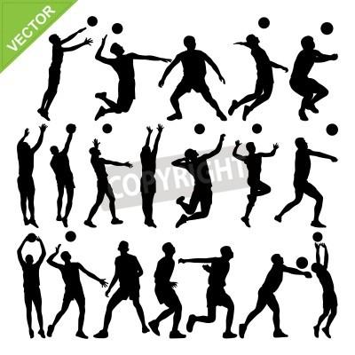 Plakat Męska siatkówka sylwetki gracza