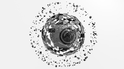 Metal sphere of extruded triangles with particles around. 3d render