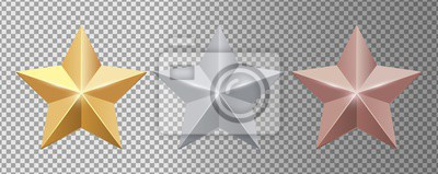 Plakat Metal stars. Realistic gold silver bronze stars vector set. Gold star award, golden, silver and bronze illustration