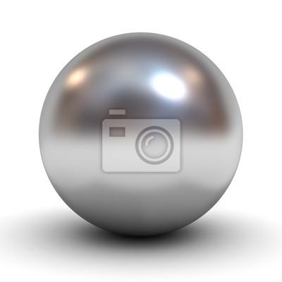 Plakat Metaliczny chrom kula na białym tle
