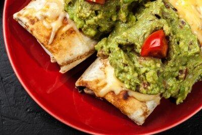 Plakat Mexican chimichanga z guacamole dip