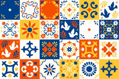 Plakat Mexican talavera pattern. Ceramic tiles with flower, leaves and bird ornaments in traditional majolica style from Puebla. Mexico floral mosaic in classic blue and white. Folk art design.