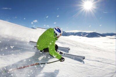 Plakat Mężczyzna na nartach wyścig
