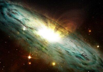 Plakat mgławica planetarna świecące w przestrzeń kosmiczną