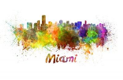 Plakat Miami Skyline w akwareli