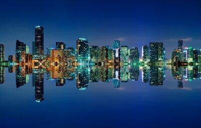 Plakat Miami Skyline w nocy