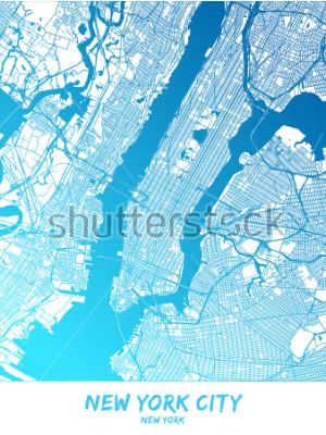 Plakat Miasto Nowy Jork i okolice Mapa w niebieskiej wersji cieniowanej z dużymi szczegółami. Ta mapa Nowego Jorku zawiera typowe punkty orientacyjne z miejscem na dodatkowe informacje.