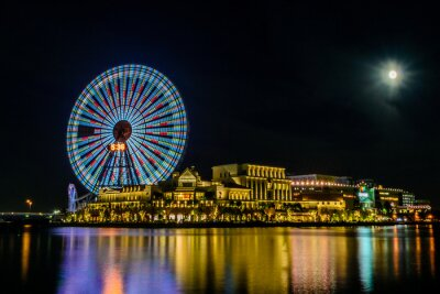 Plakat Miasto Yokohama w Japonii w nocy