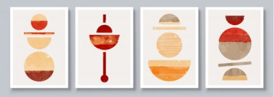 Plakat Mid-Century Modern Design. A trendy set of Abstract Orange Hand Painted Illustrations for Postcard, Social Media Banner, Brochure Cover Design or Wall Decoration Background. Aesthetic watercolor.