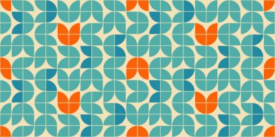 Plakat Mid century modern style seamless vector pattern with geometric floral shapes colored in orange, green turquoise and aqua blue. Retro geometrical pattern sixties style.