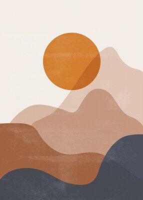 Plakat Mid century sunset mountain print boho minimalist printable wall art abstract