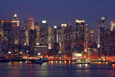 Plakat Mid-miasto Manhattan Skyline at Night