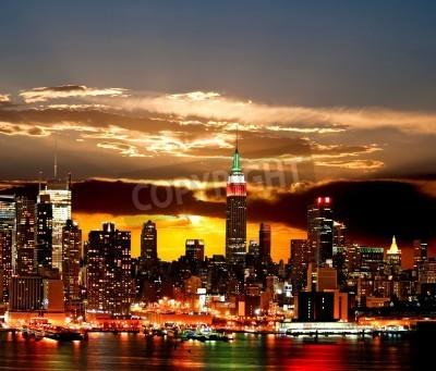 Plakat Midtown panoramę Nowego Jorku na wschód słońca