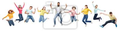 Plakat Międzynarodowa grupa szczęśliwych ludzi skoki