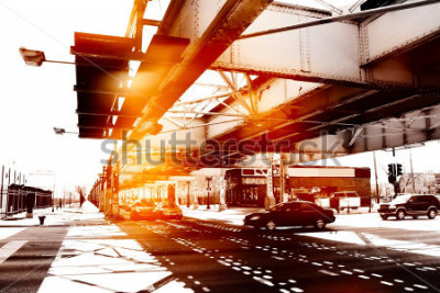 Plakat Miejska scena w Chicago