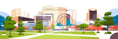 Plakat miejski pusty miasto park ścieżka droga drapacz chmur budynki zobacz nowoczesne gród centrum poziome transparent płaski