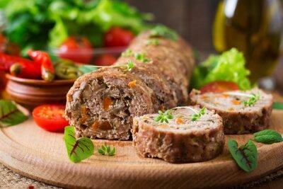 Plakat Mięso mielone bochenek bułka z pieczarkami i marchewką