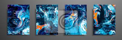 Plakat Mieszanka farb akrylowych. Płynna marmurowa tekstura. Sztuka płynów. Ma zastosowanie do okładki, prezentacji, zaproszenia, ulotki, raportu rocznego, plakatu i wizytówki, opakowania desing. Nowoczesne