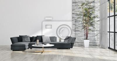 Plakat mieszkanie duże luksusowe nowoczesne jasne wnętrza Ilustracja salon 3D renderowania wygenerowane komputerowo obrazu
