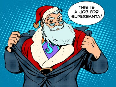 Plakat Mikołaj superbohater