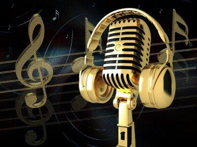 Plakat Mikrofon ze słuchawkami na tle