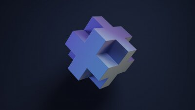 Minimal art for graphic design. 3d cross on dark background. 3D render