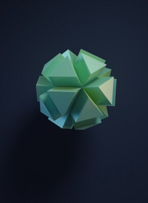 Minimal art. Polyhedron with triangular extruded faces on dark background. 3D render