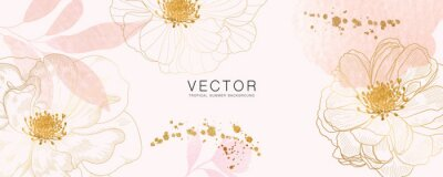 Plakat minimal background in pink flowers and tropical summer leaf