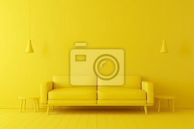 Plakat Minimal concept. interior of living yellow tone on yellow floor and background.