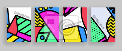 Plakat Minimal covers design. Placard templates set with abstract geometric shapes, 80s memphis bright style flat design elements. Retro art for a4 covers, banners, flyers and posters.