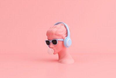 Plakat Minimal scene of sunglasses and headphone on human head sculpture, Music concept, 3d rendering.