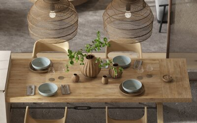 Plakat Minimalism modern interior  scandinavian design. Bright studio living, kitchen and dining room.Table with dishes, kitchen island and green plants. 3d render. 3d illustration.