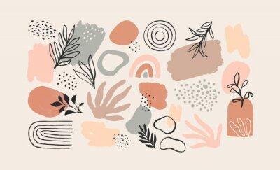 Plakat Minimalist abstract nature art shapes collection. Pastel color doodle bundle for fashion design, summer season or natural concept. Modern hand drawn plant leaf and tropical shape decoration set.