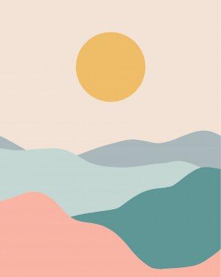Plakat Minimalist landscape pastel colors vector