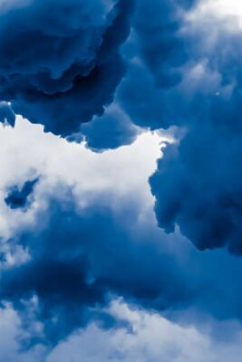 Plakat Minimalistic blue cloudy background as abstract backdrop, minimal design and artistic splashes