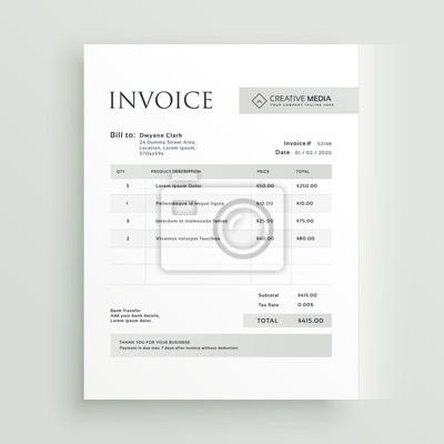 Plakat Minimalny formularz faktury szablon wektora projektowania