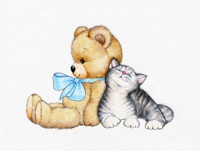 Plakat Miś z kotek