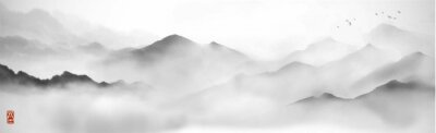 Plakat Misty mountains with gentle slopes and flock of birds in the sky. Traditional oriental ink painting sumi-e, u-sin, go-hua.