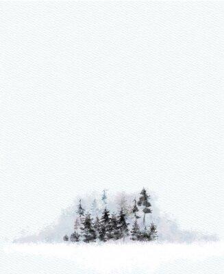 Plakat Mityczny krajobraz lasu na papierze teksturowanym. Dekoracje akwarelowe do druku, projektowania, kart okolicznościowych, zaproszeń, papieru firmowego, materiałów piśmiennych, plakatów itp.