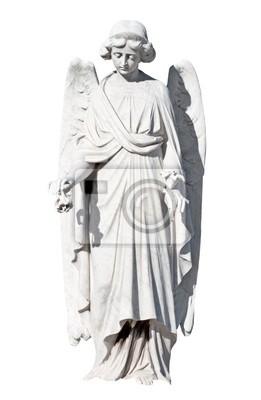 Plakat Młoda kobieta anioł na białym tle z wycinek