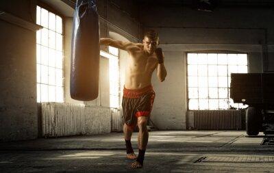 Plakat Młody człowiek boks trening w starym budynku