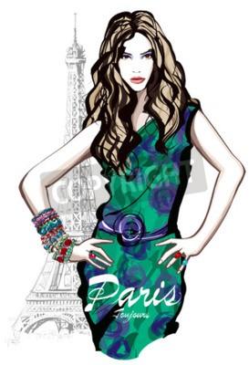 Plakat Młody ładny modelka z zieloną suknię w Paryżu - ilustracji wektorowych