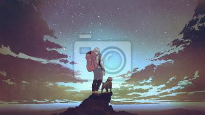 Plakat młody turysta z plecakiem i pies stojący na skale i patrząc na gwiazdy na nocnym niebie, cyfrowy styl sztuki, ilustracja malarstwo