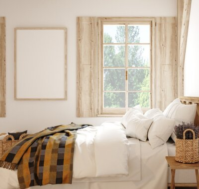 Plakat Mock up frame in country style bedroom interior, 3d render