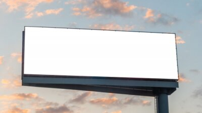 Plakat Mock up image: wide blank white billboard or large display and clouds against sunset warm sky. Consumerism, mockup, advertising, isolated white screen, background, template, copyspace concept