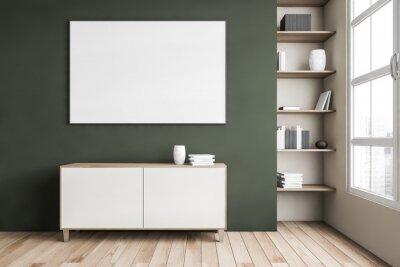 Plakat Mockup canvas above commode, green wall and bookshelf near window