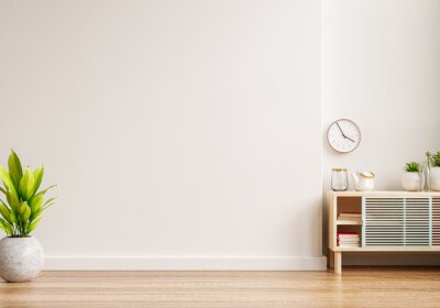 Plakat Mockup of an interior wall in a living area with a cabinet and an empty white wall background.