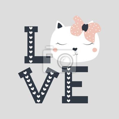 Moda Dziewczyny Wydruku Z ładny Kot I Słowo Miłość Wektorowa Plakaty Redro