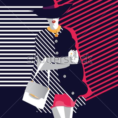Plakat Moda kobieta w stylu pop art. Ilustracji wektorowych