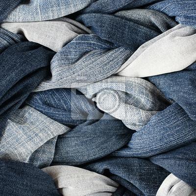 moda stylowy teksturowanej tle tkaniny wielu plecionek i warkocze tkane z niebieskim dżinsy o różnych kolorach
